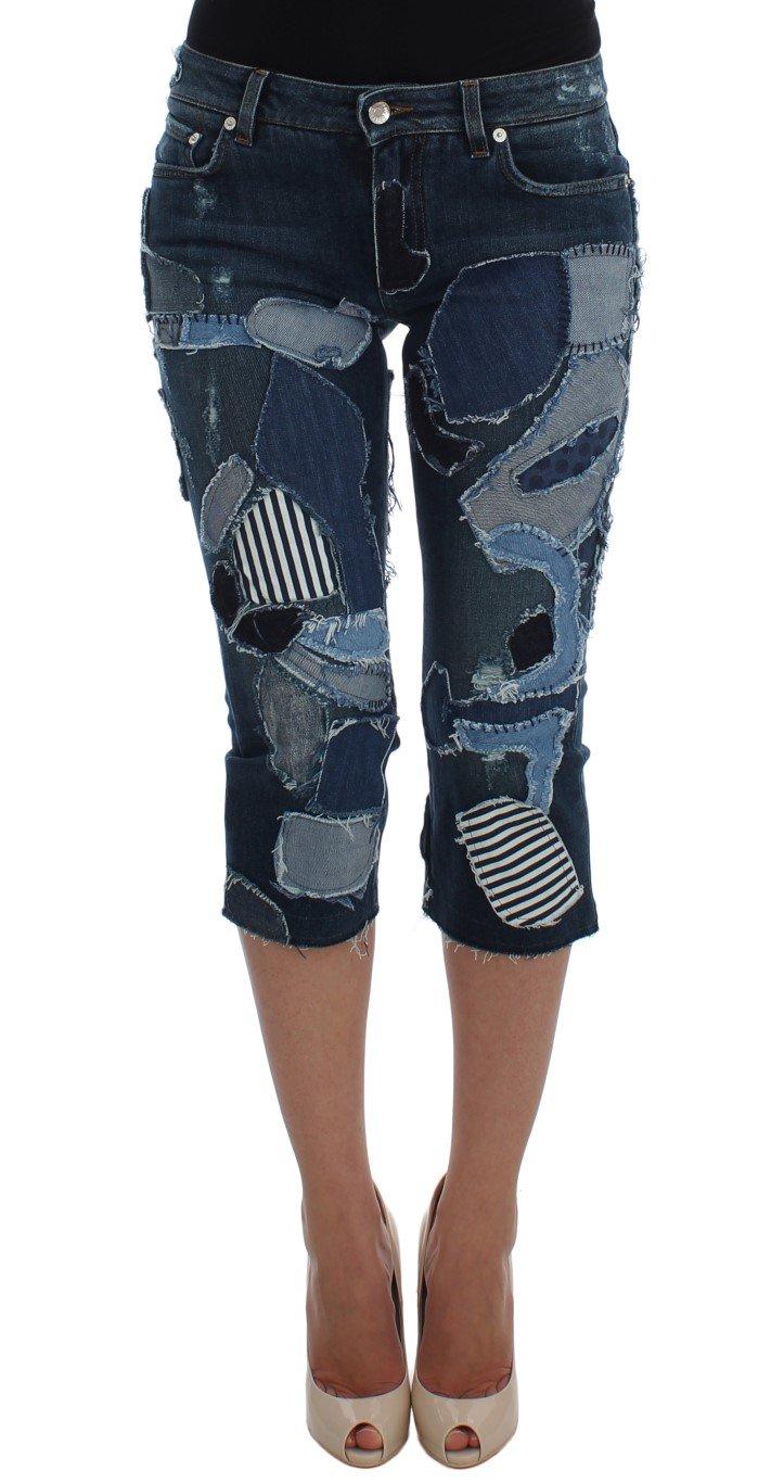 Dolce & Gabbana Women's Stretch Patchwork Shorts Blue SIG20531 - IT40|S