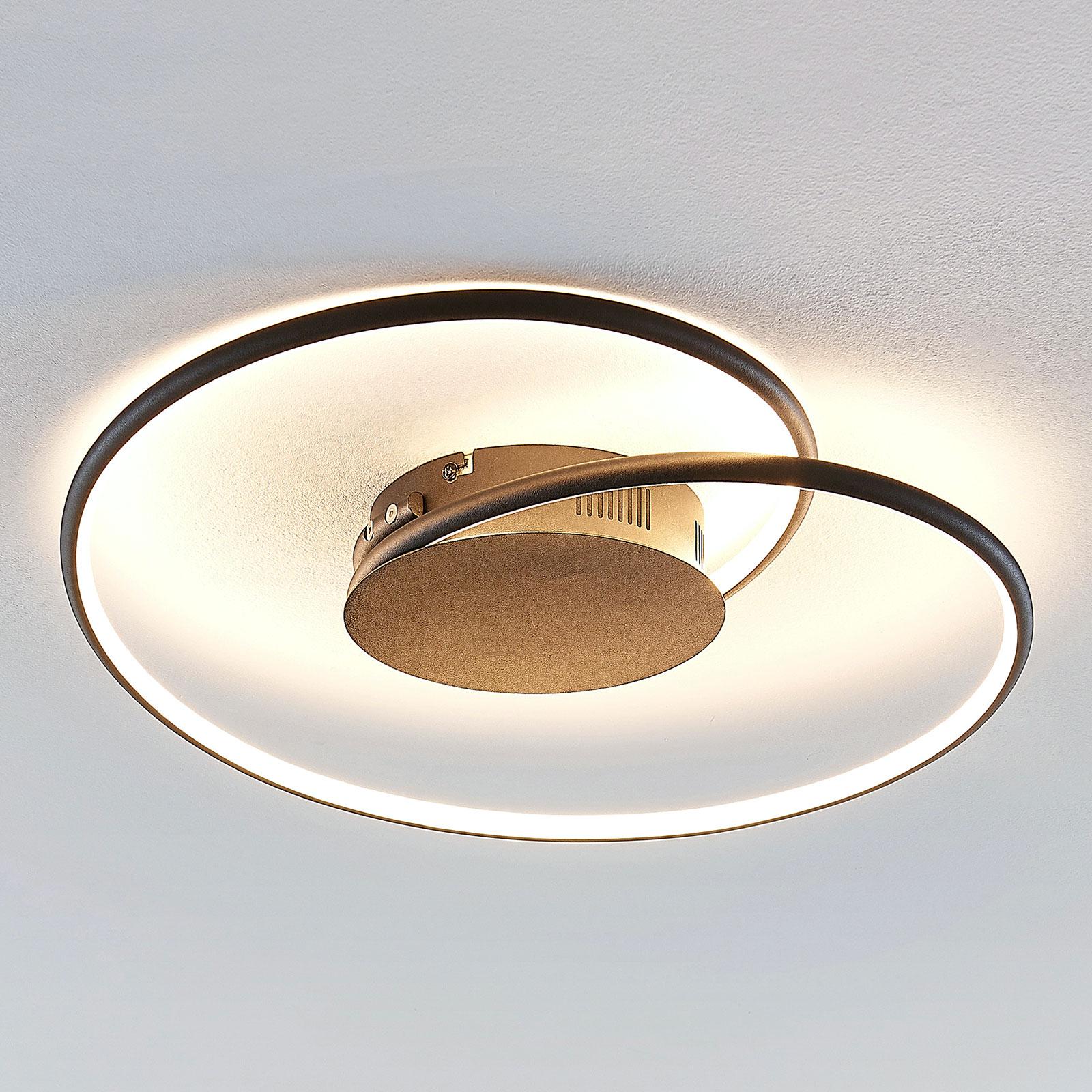 Lindby Joline LED-kattovalaisin, musta, 45 cm