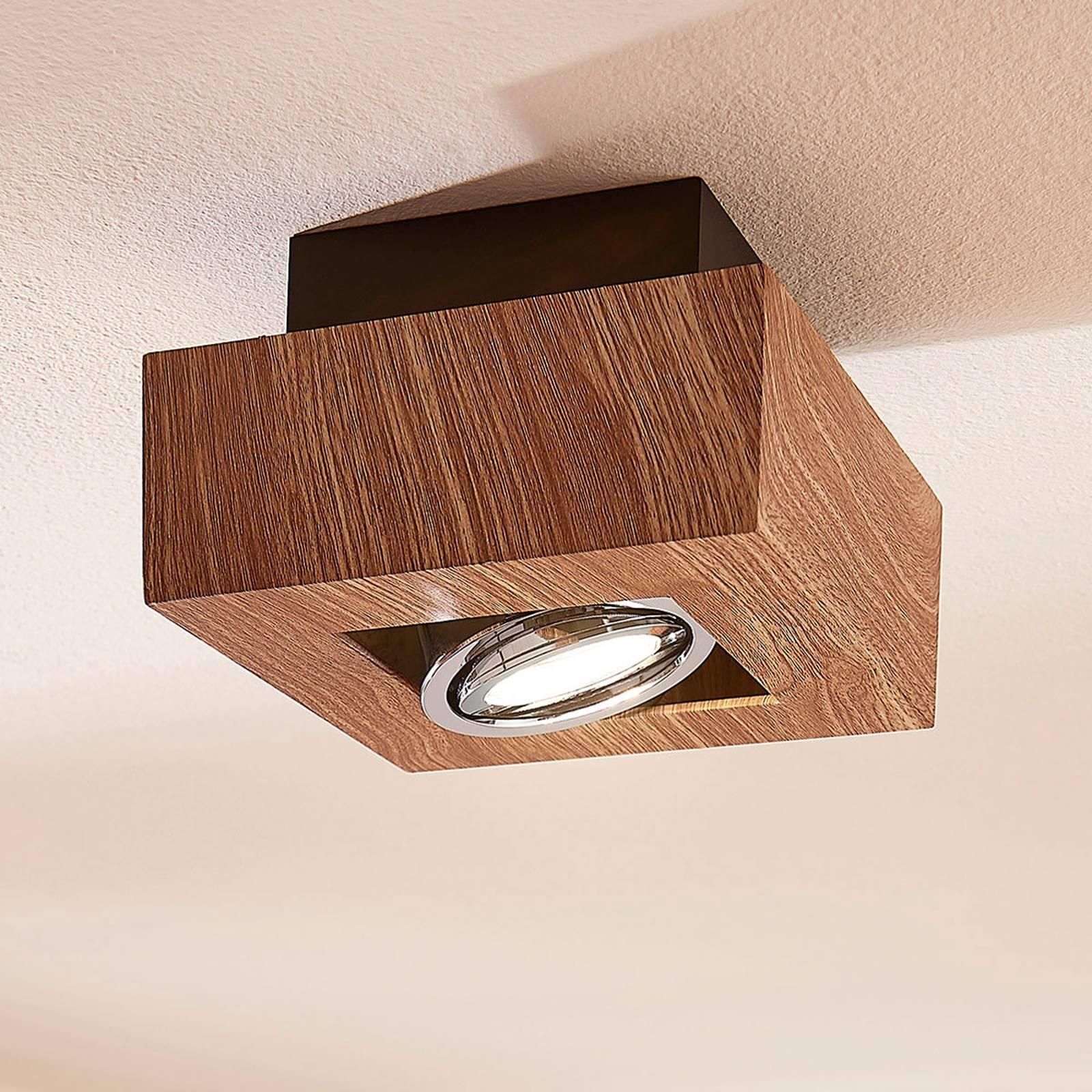LED-kattolamppu Vince, 14 x 14 cm puuta