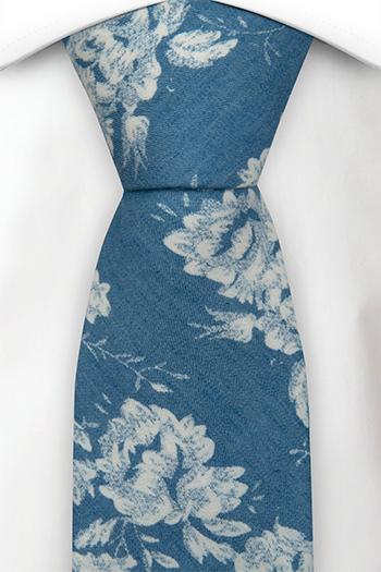 Bomull Slips, Blå denim med store hvite blomster, Blå, Blomster