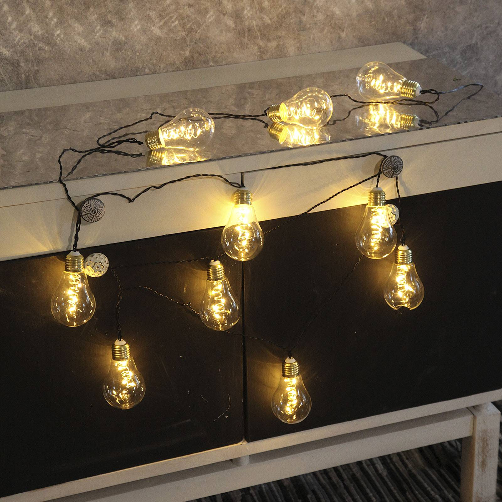 LED-valoketju Glow, lasi, valkoinen