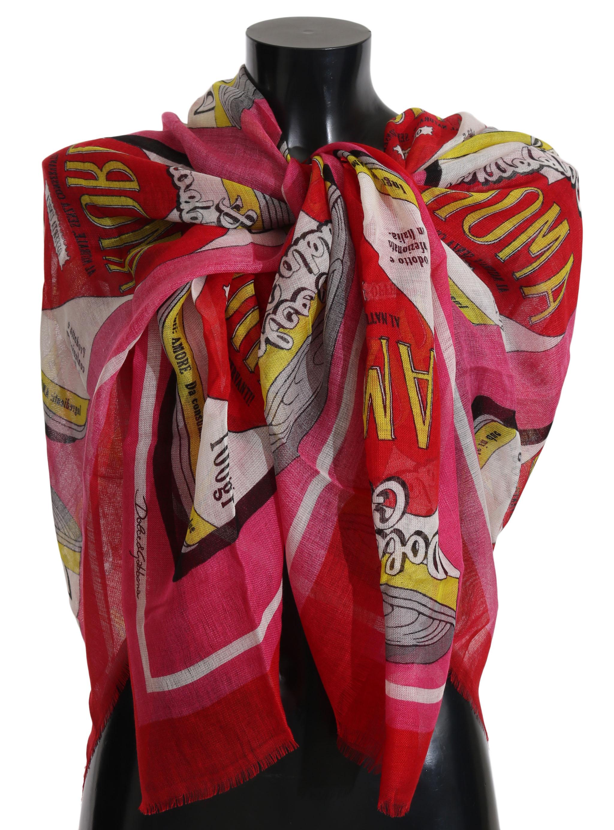 Dolce & Gabbana Women's AMORE Cashmere Silk Wrap Scarf Pink MS2479