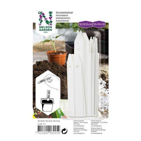 Nelson Garden 6005 Klebeetikett plast, 3 størrelser, hvit, 3x 10 stk.