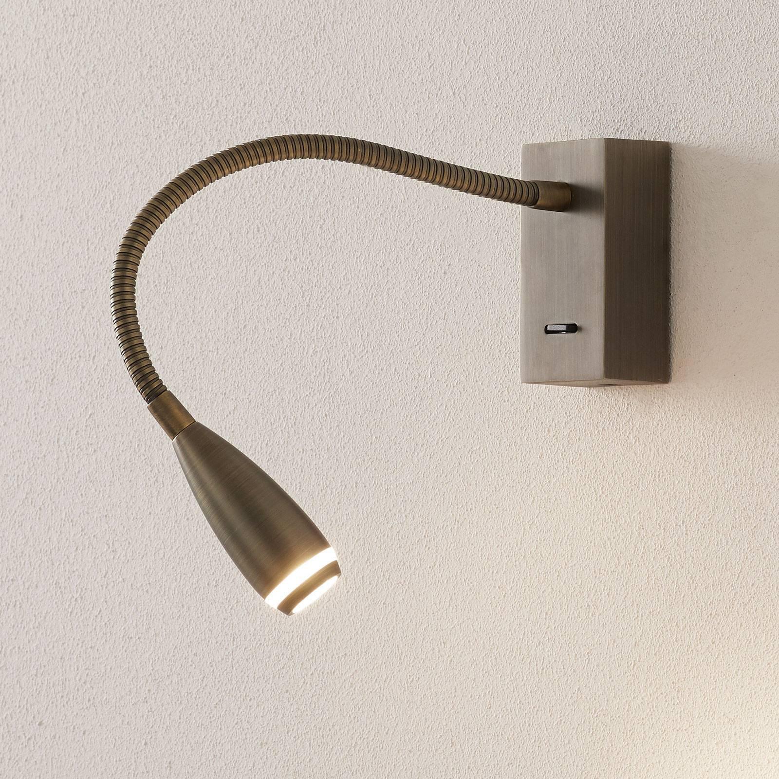 LED-vegglampe Click med bryter, bronse