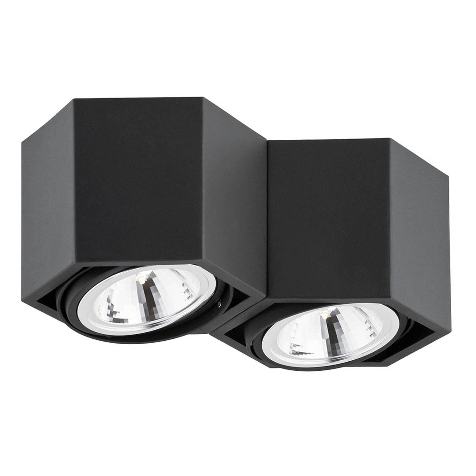 Kattovalaisin Elvas, kääntyvä, 2-lamppuinen, musta