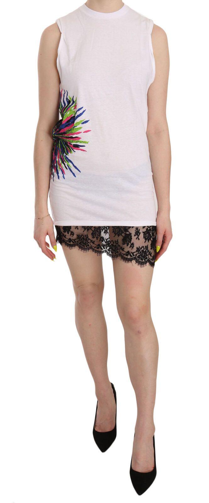 Dsquared² Women's Printed Crew Neck Sleeveless Mini Dress White TSH3831 - IT38|XS