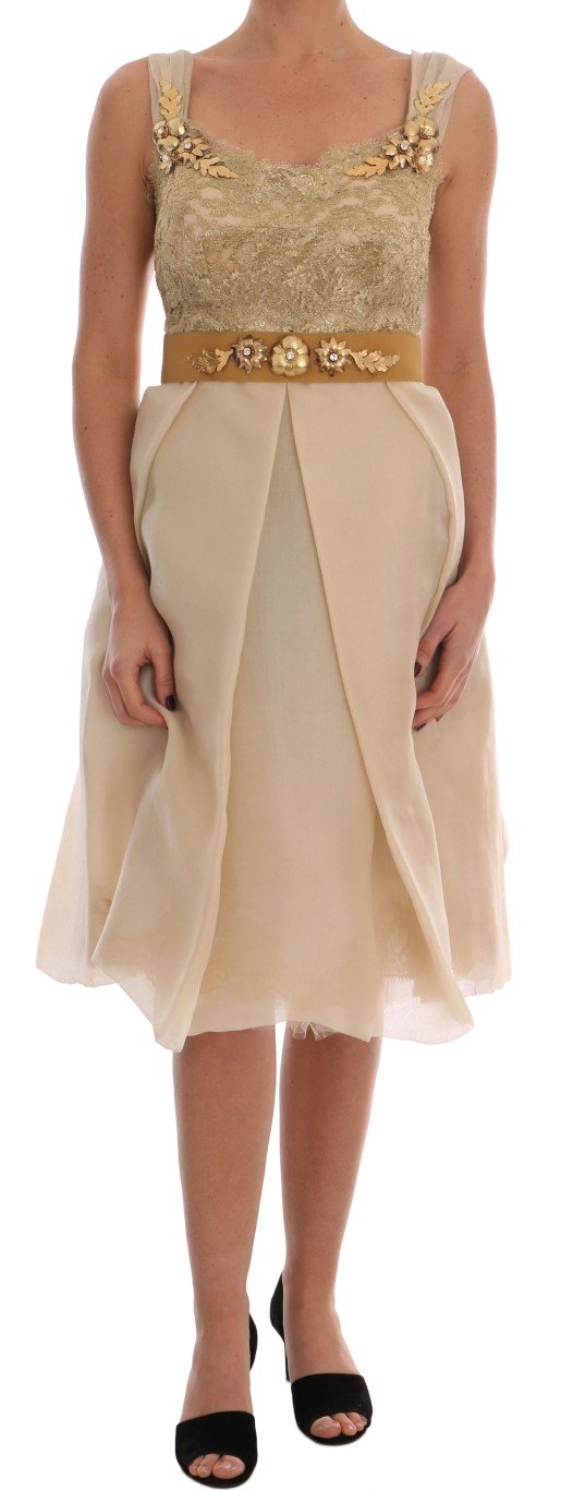 Dolce & Gabbana Women's Silk Crystal Embellished Dress Gold DR1364 - IT44|L