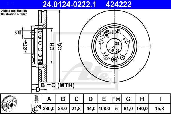 Jarrulevy ATE 24.0124-0222.1