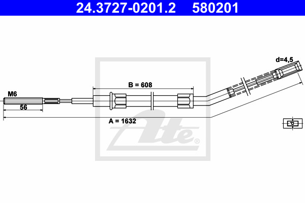 Cable, parking brake ATE 24.3727-0201.2