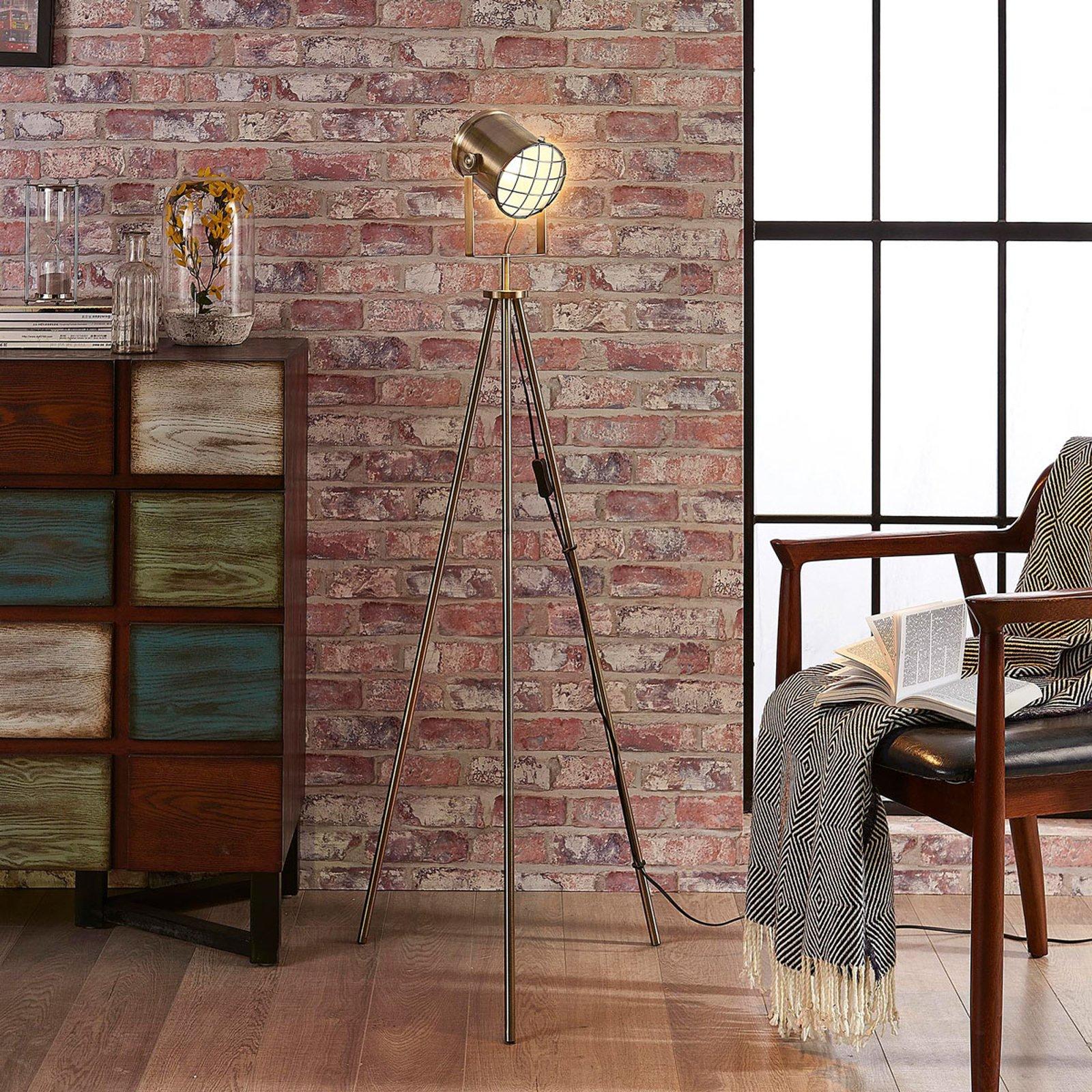 Gulvlampe Ebbi i industriell stil, med tre bein
