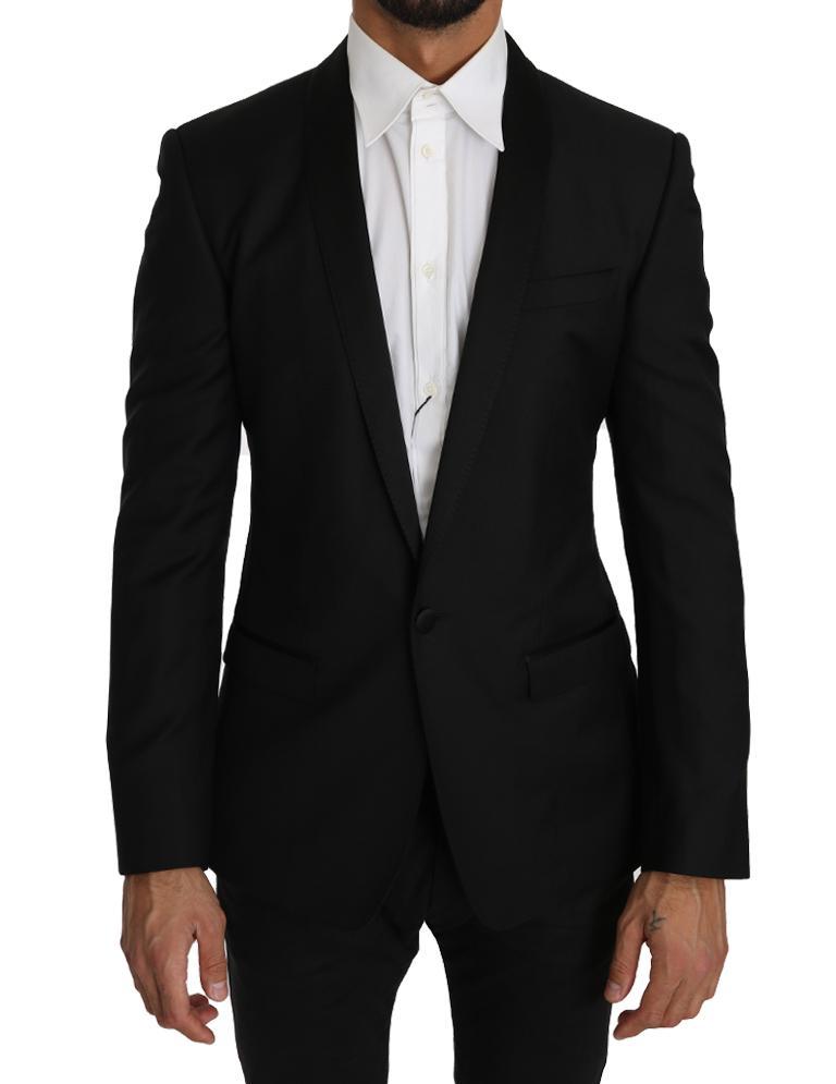Dolce & Gabbana Men's Wool Silk GOLD Blazer Black KOS1222 - IT46 | S