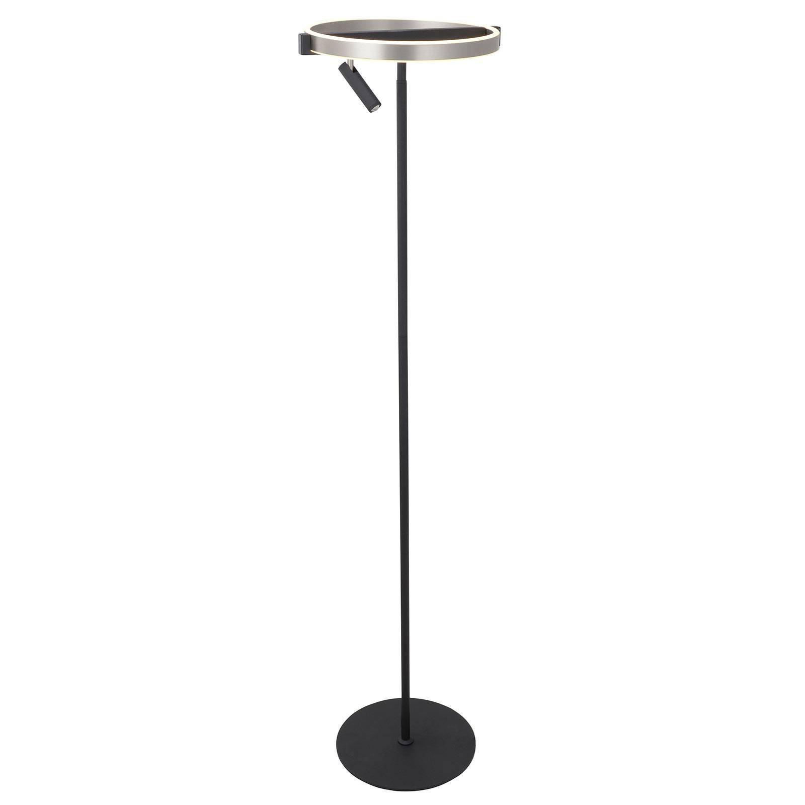 Lucande Matwei LED-gulvlampe, ringformet, nikkel