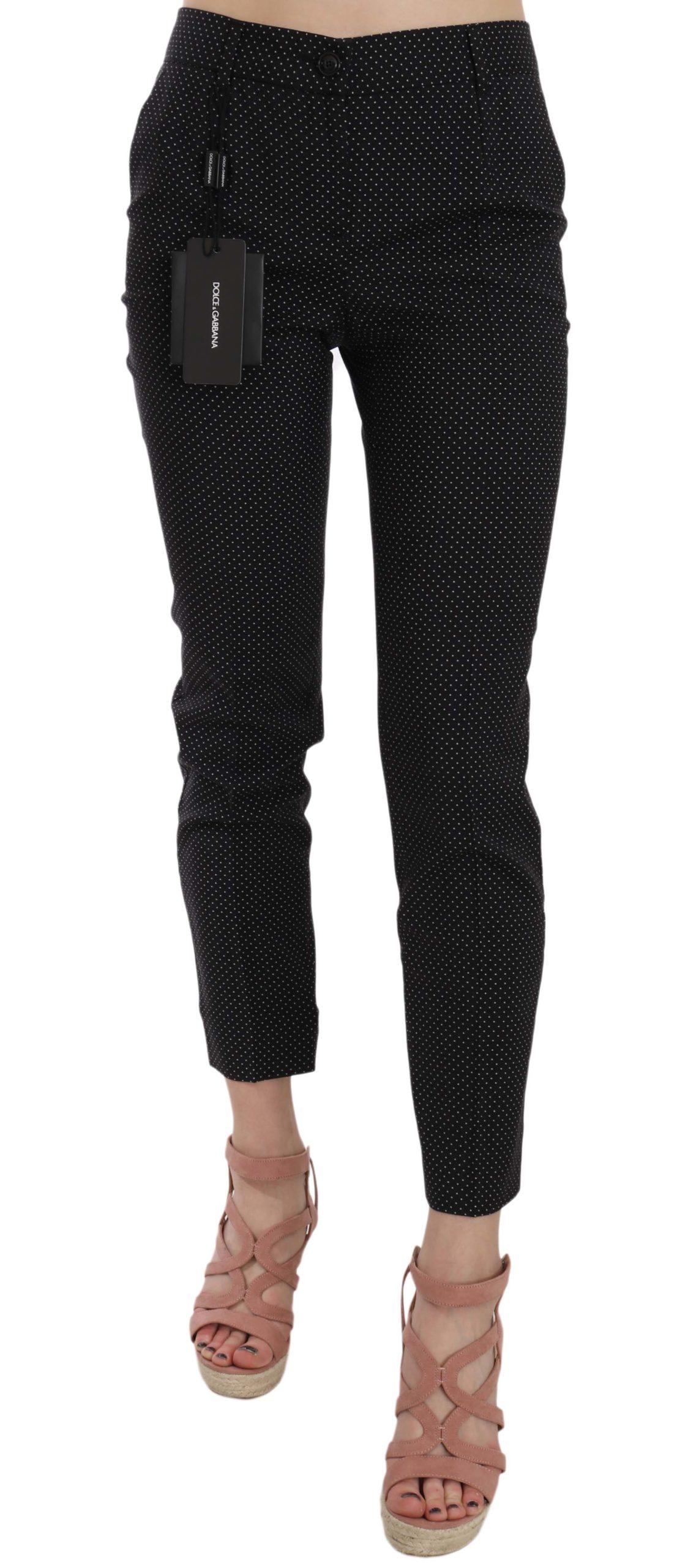 Dolce & Gabbana Women's Dot Slim Capri Trousers Black PAN70012 - IT38|XS
