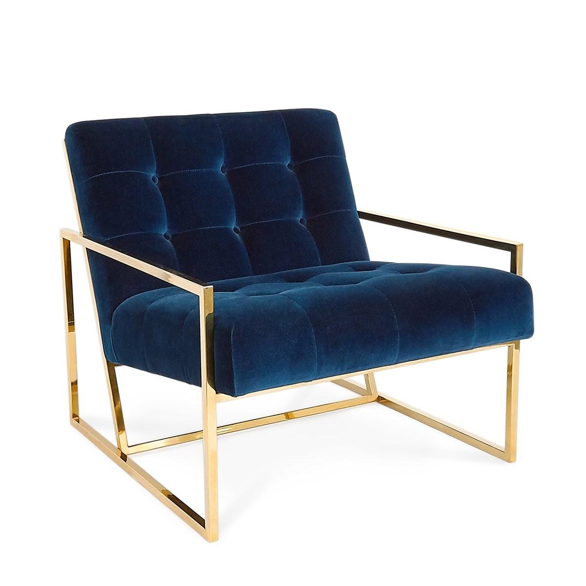 Jonathan Adler I Goldfinger Lounge Chair I Rialto Navy