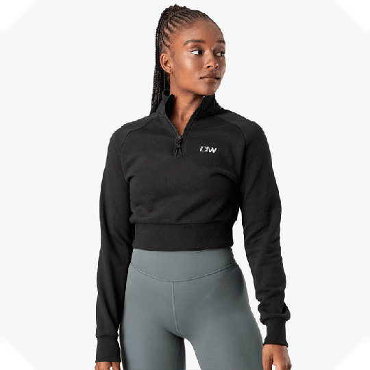 Essential Cropped Sweater, Black