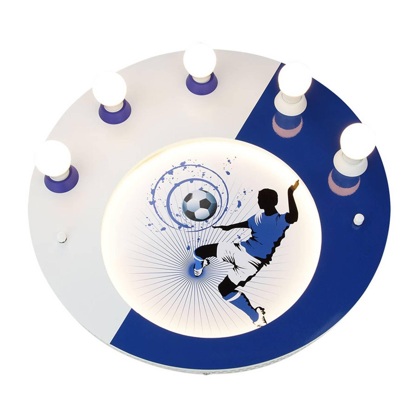 Taklampe Soccer, 5 lyskilder, blå og hvit