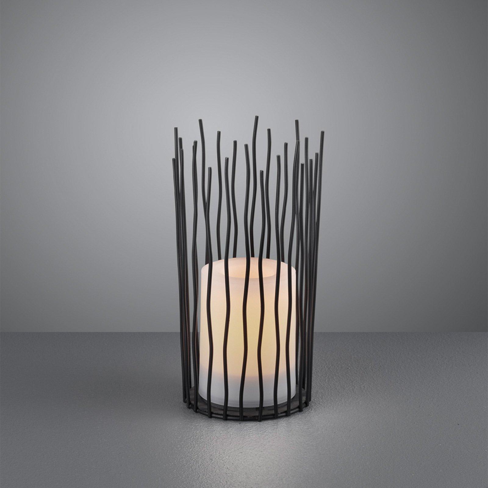LED-sol-bordlampe Coro, med flammeeffekt