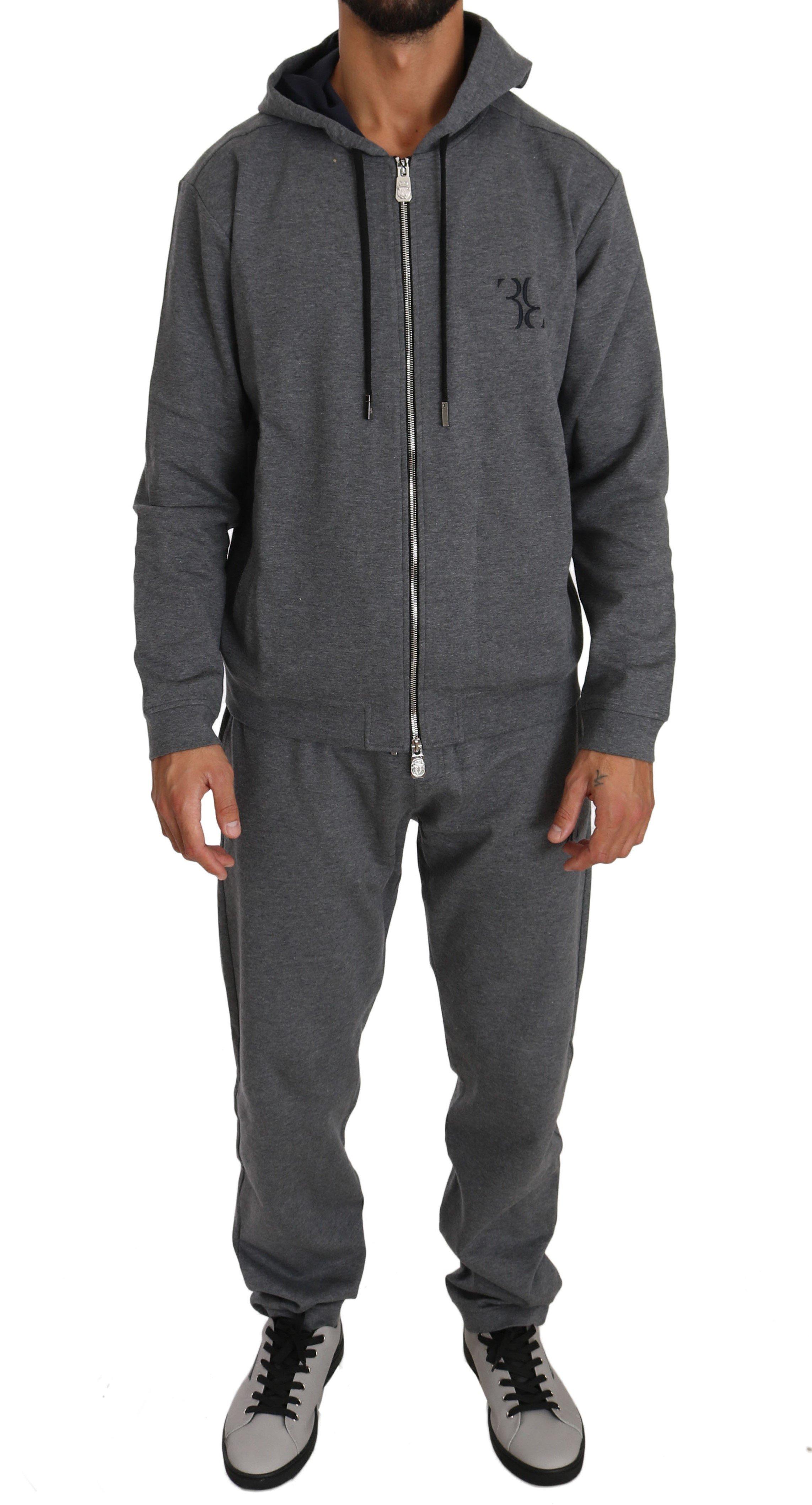 Billionaire Italian Couture Men's Hoodie Tracksuit Grey BIL1012 - L