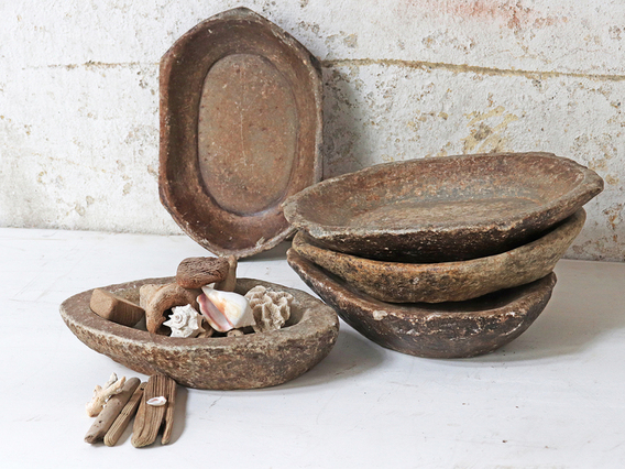 Large Old Stone Bowl - Oval Natural