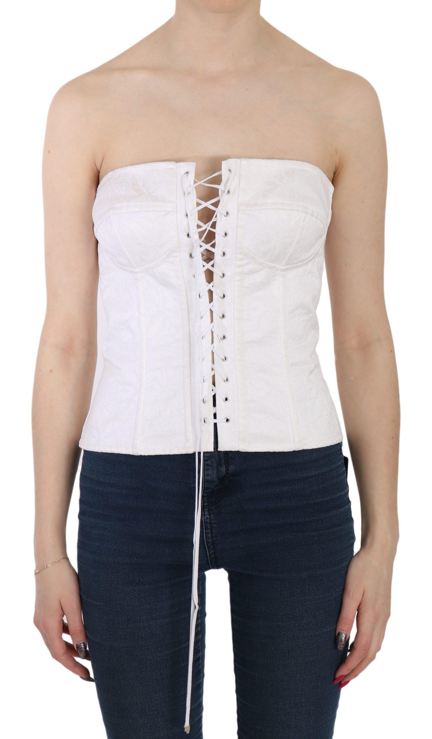 Dolce & Gabbana Women's Strapless Corset Top White TSH3398 - IT46|XL