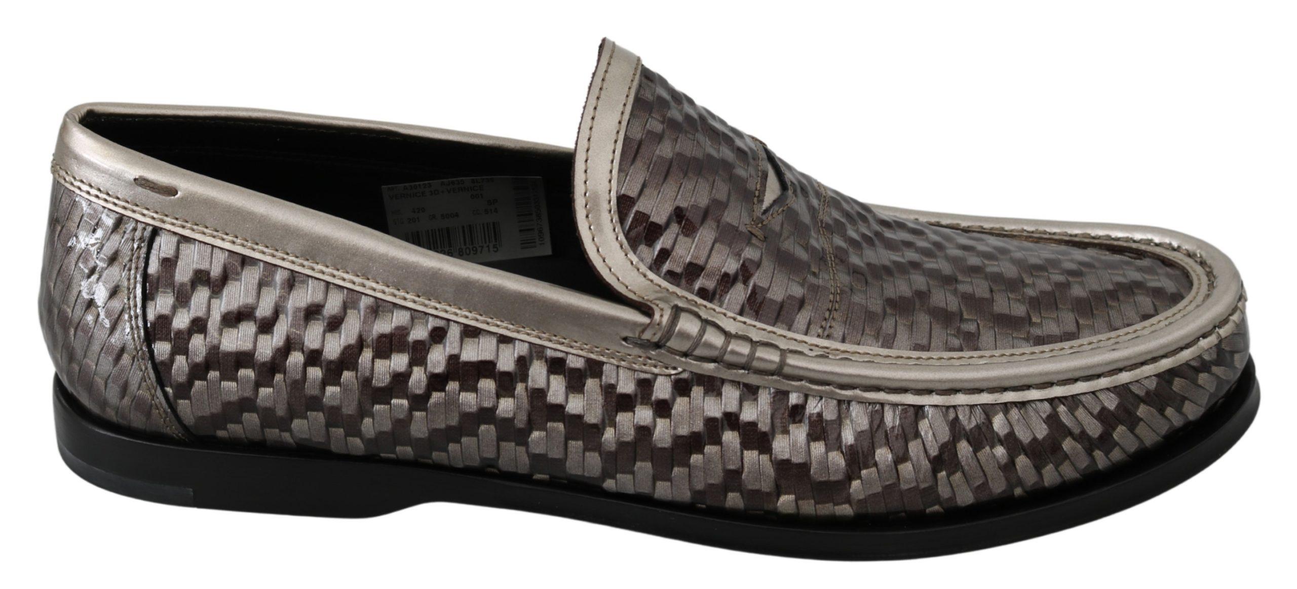 Dolce & Gabbana Men's Leather Woven Loafer Brown MV3038 - EU42/US9