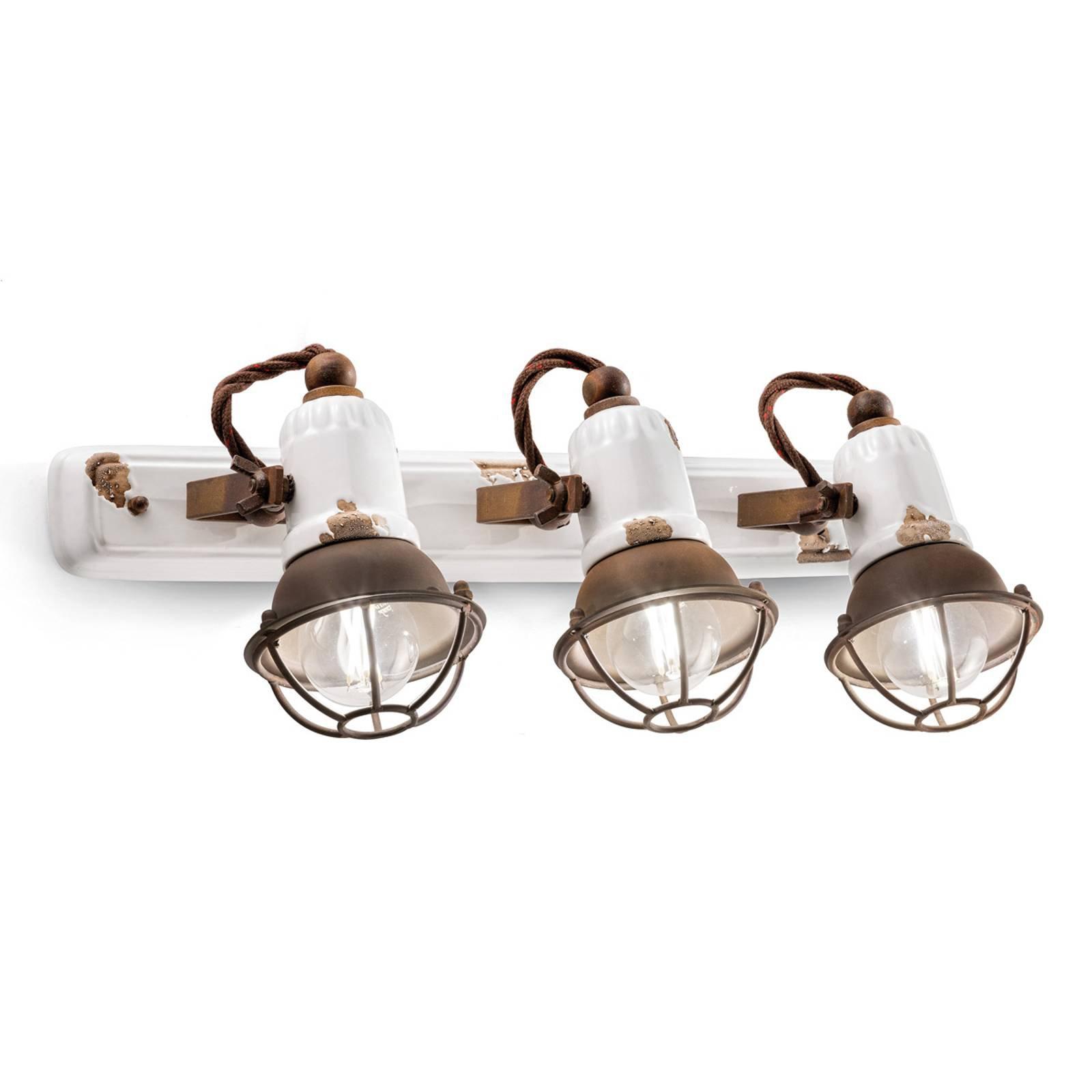 Vegglampe C1677/1 med kurv, 3 lyskilder, hvit