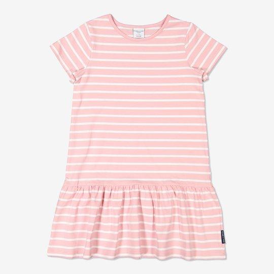 Stripet kjole lysrosa