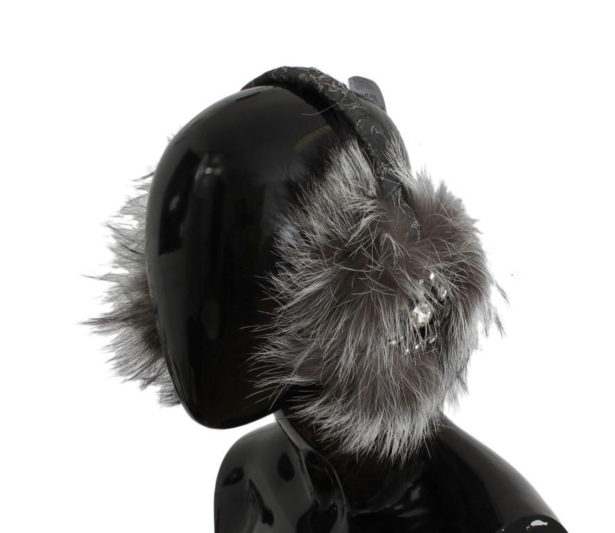 Dolce & Gabbana Women's Fox Fur Crystal Ear Muffs Gray SIG31612