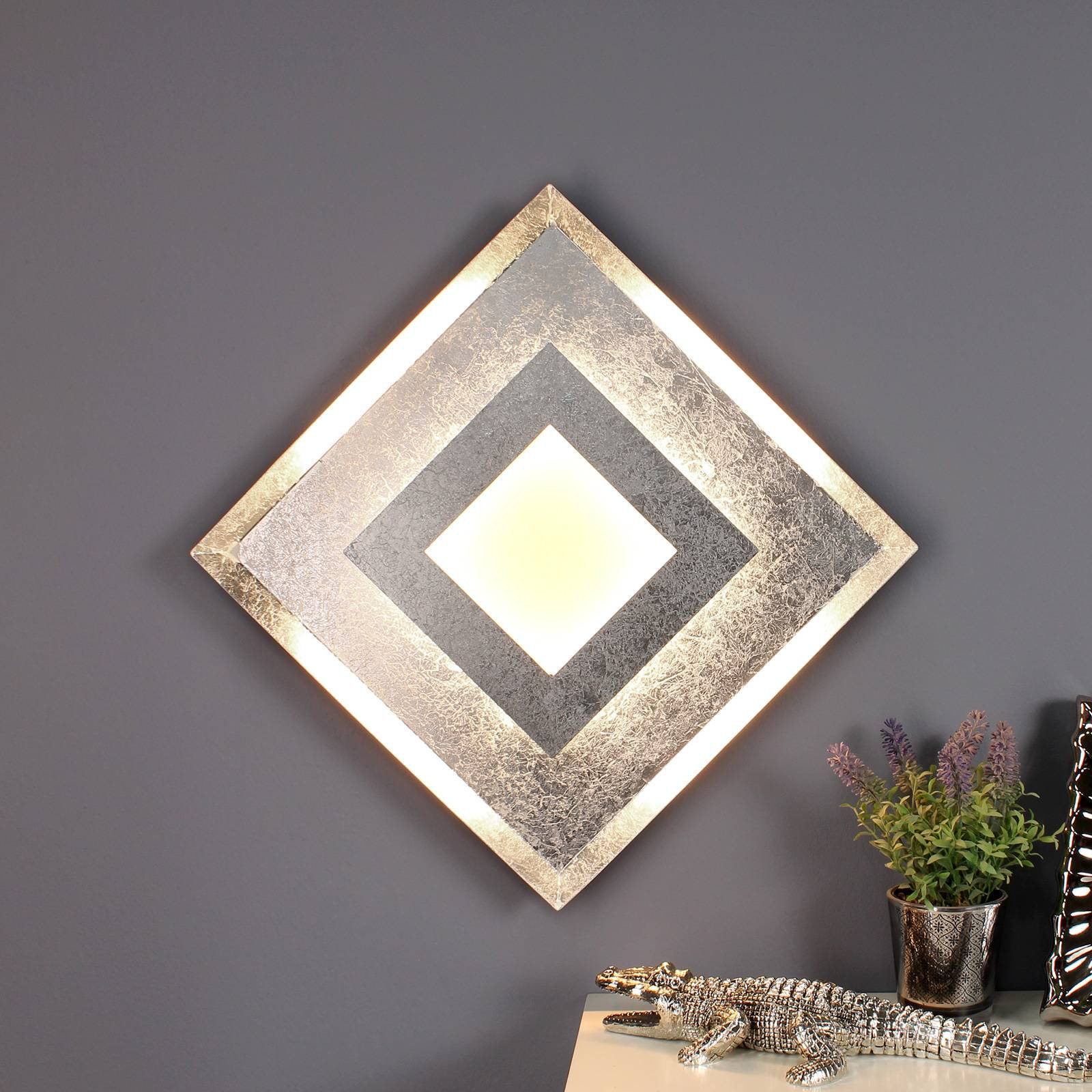 LED-vegglampe Window 39x39 cm, sølv