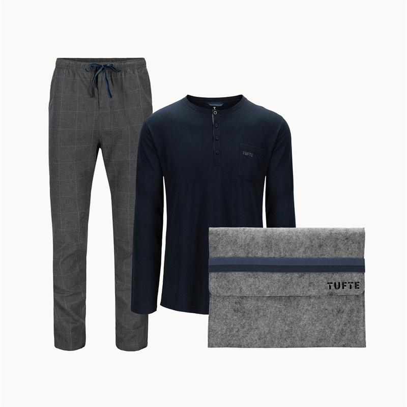 Tufte Pyjamas Set M Herre, Dark Grey Melange