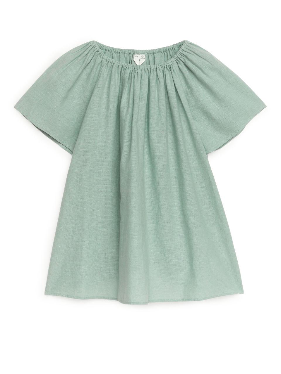 Cotton-Linen Dress - Turquoise