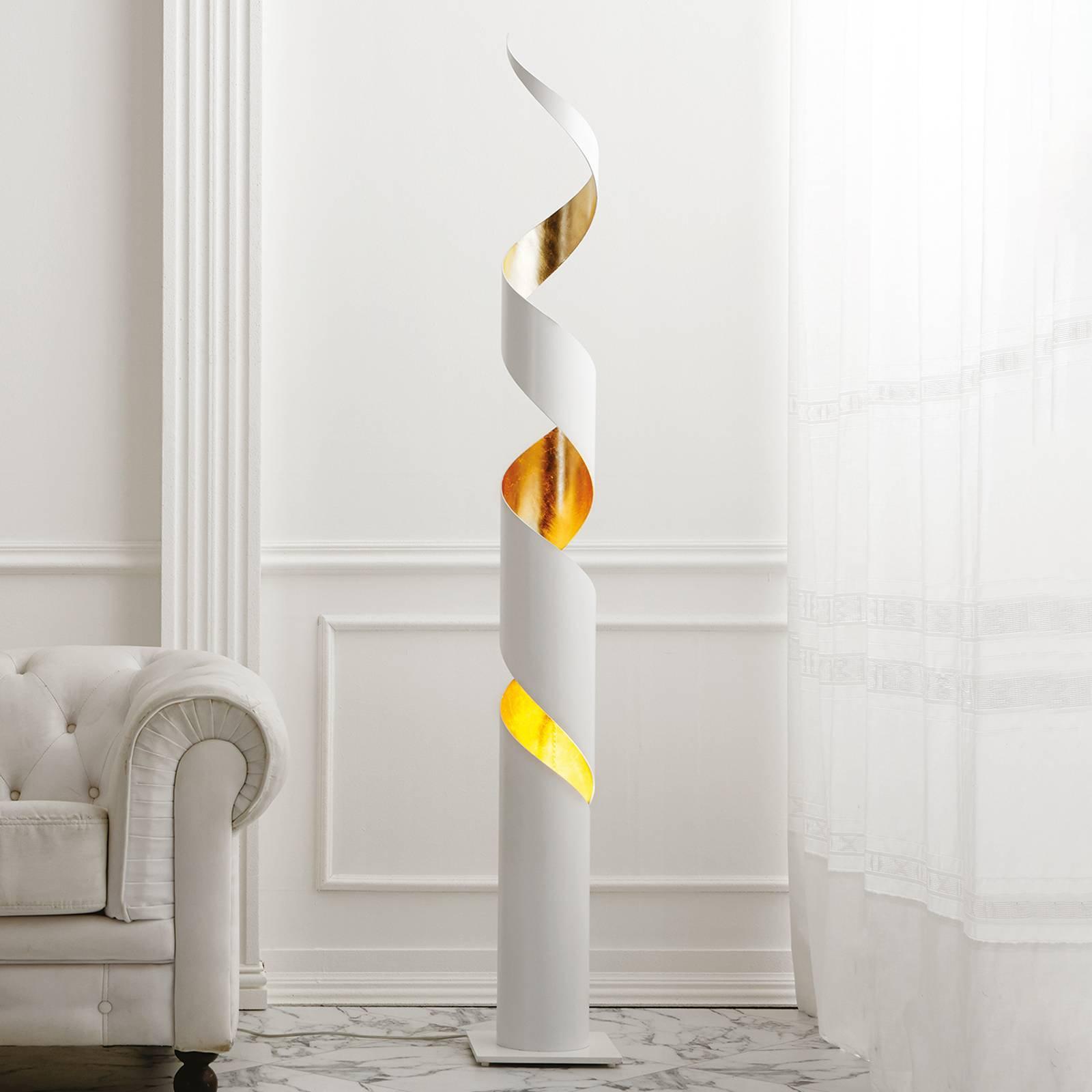 Remi eksklusiv hvit-gullfarget gulvlampe