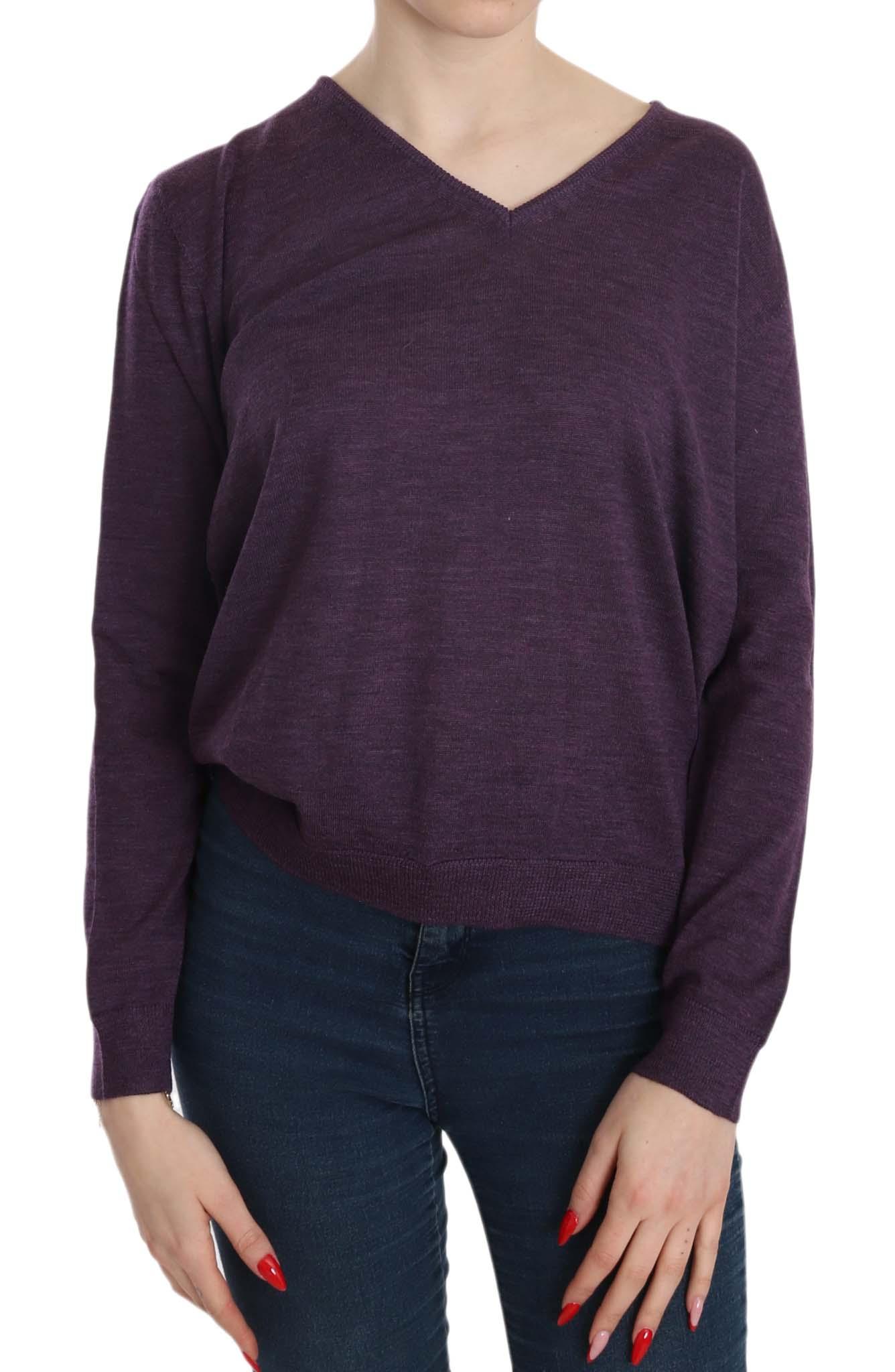 BYBLOS Women's V-neck LS Pullover Purple TSH3898 - S