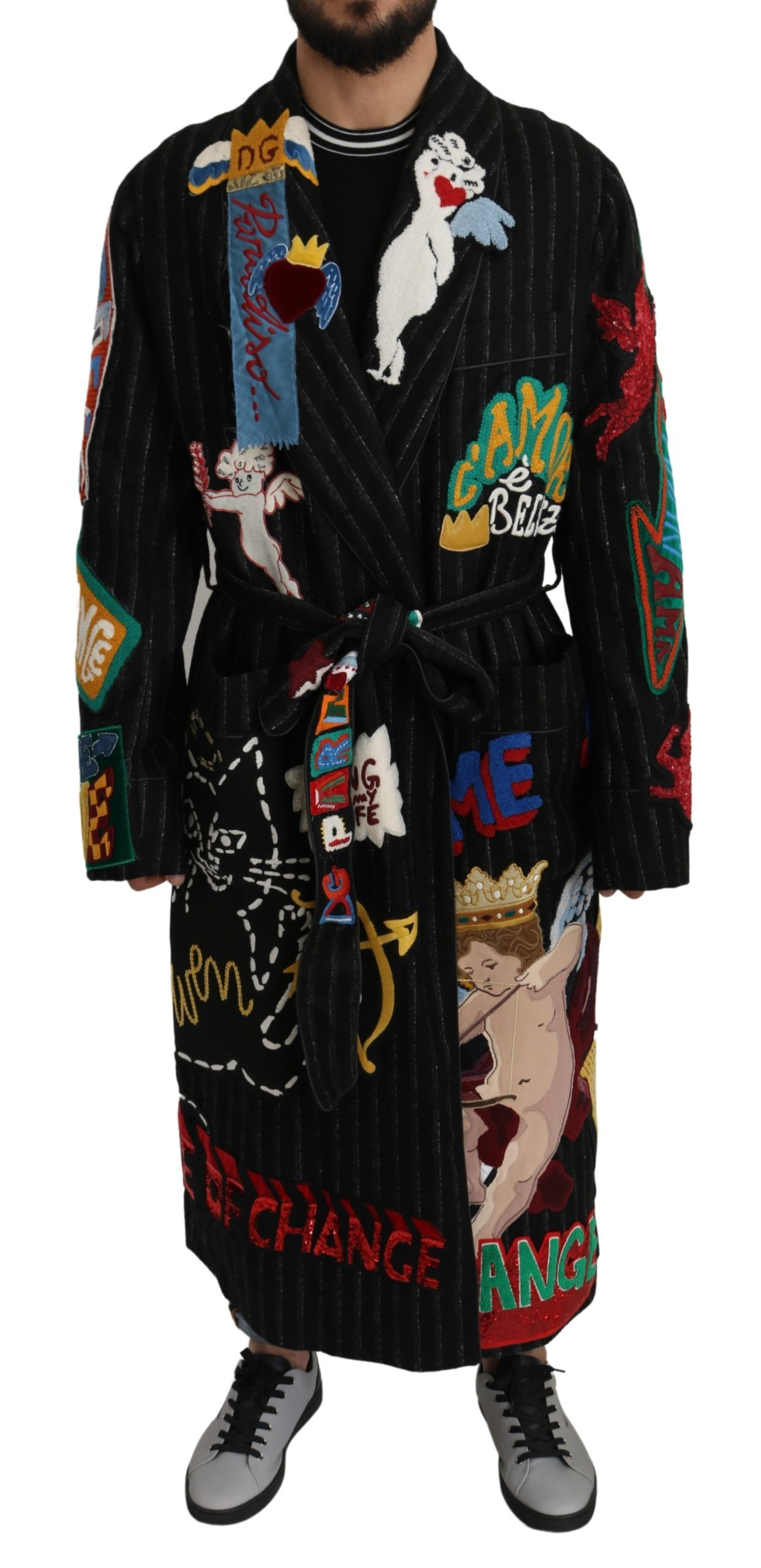Dolce & Gabbana Men's Wool BELLEZZA Nightgown Robe Coat Black JKT2663 - IT56 | 3XL