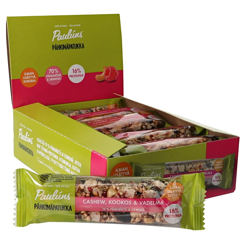 Pähkinäpatukat Cashew, Kookos & Vadelma 15kpl - 70% alennus