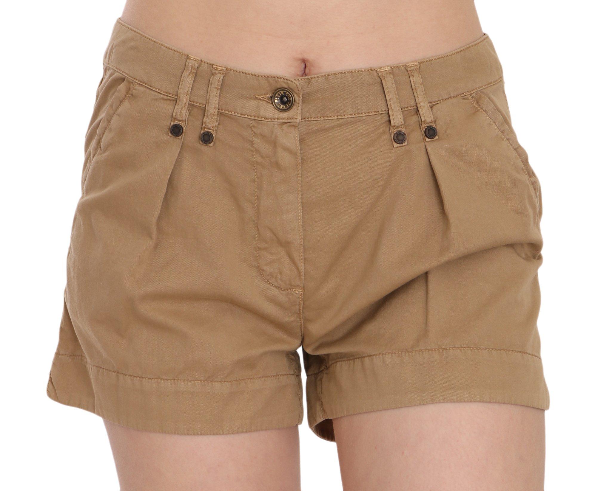 PLEIN SUD Women's Mid Waist Cotton Mini Shorts Brown PAN70244 - IT36   XS