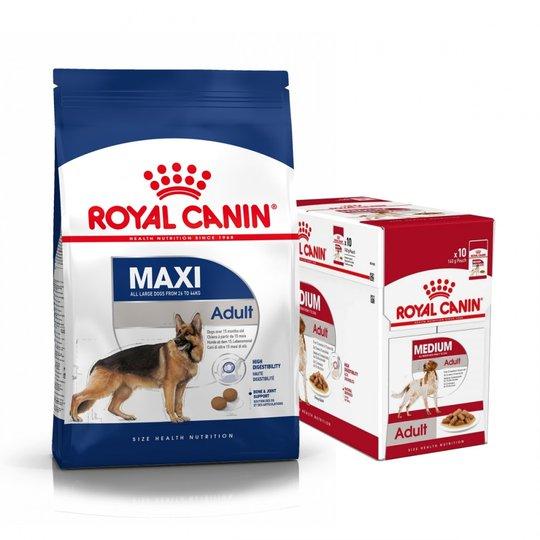 Royal Canin Maxi Adult Torrfoder 15 kg + Multipack Våtfoder