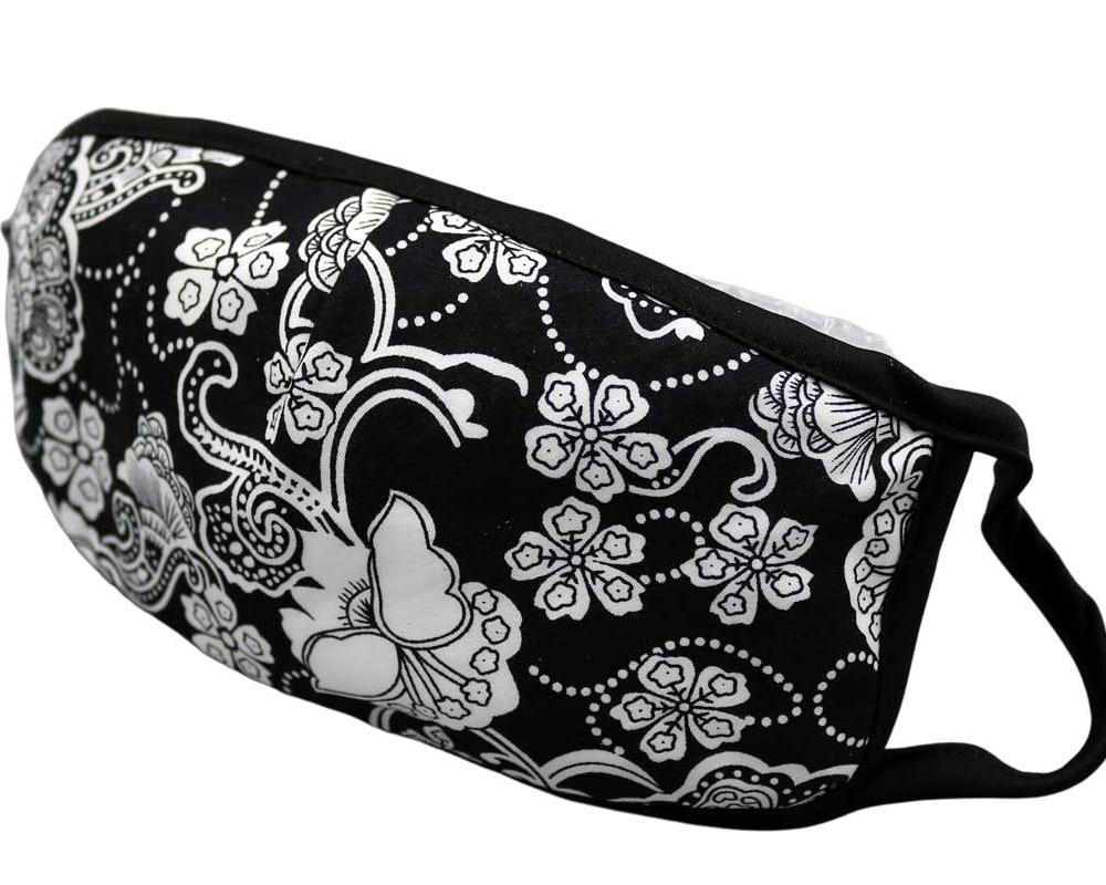 Bomull Ansiktsmask, Hvite blomster på svart, Svart, Flowers