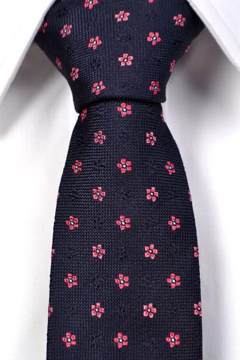 Silke Smale Slips, Blå bunn med blomster i rosa, Blå, Flower, Notch LOKE