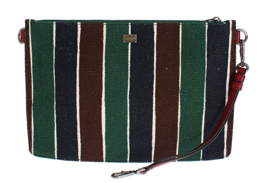 Dolce & Gabbana Men's Striped Linen Leather Organizer Messenger Bag Multicolor SIG13501