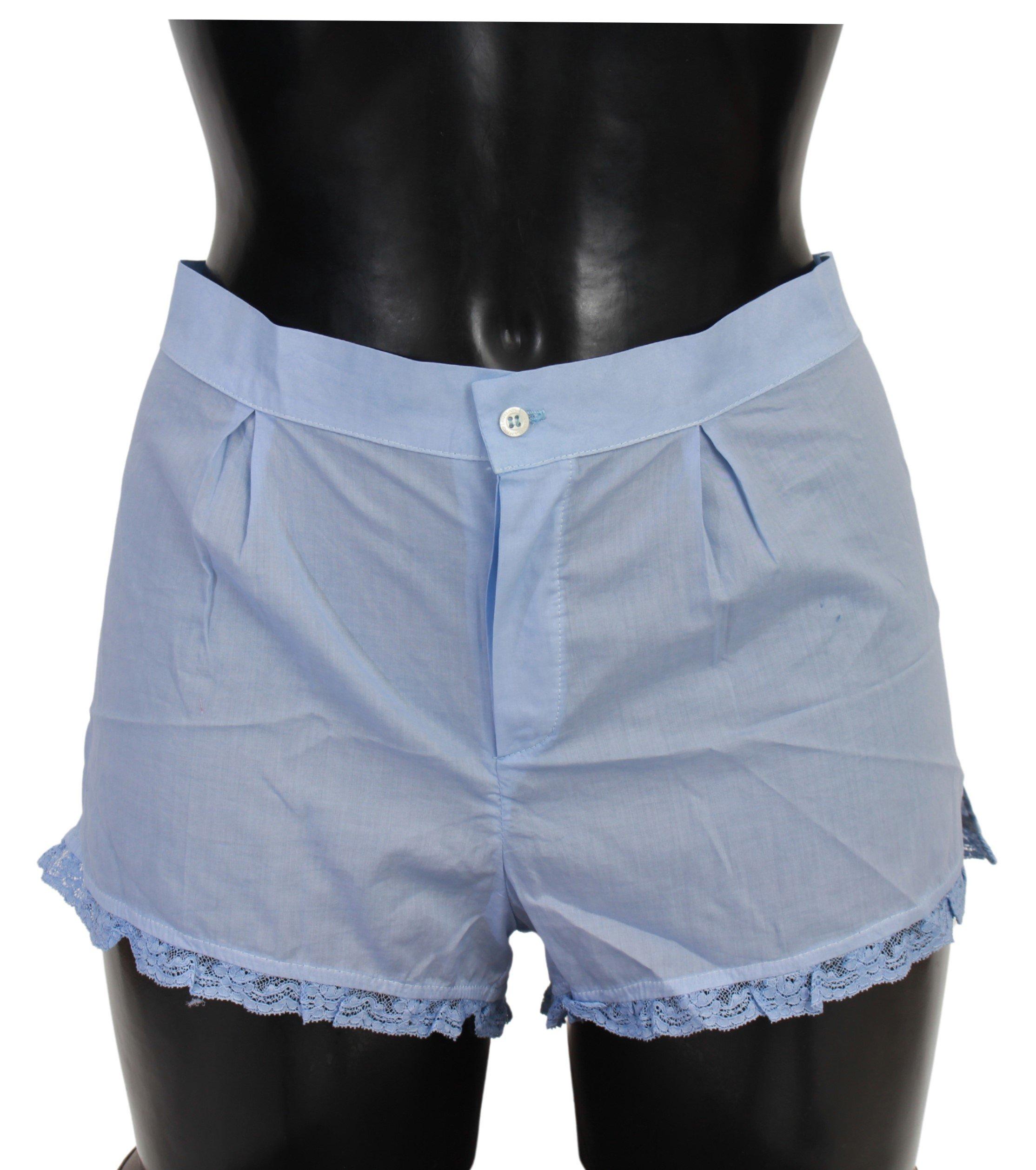Ermanno Scervino Women's Lace Cotton Shorts Blue Blue BIK759 - IT2 | S