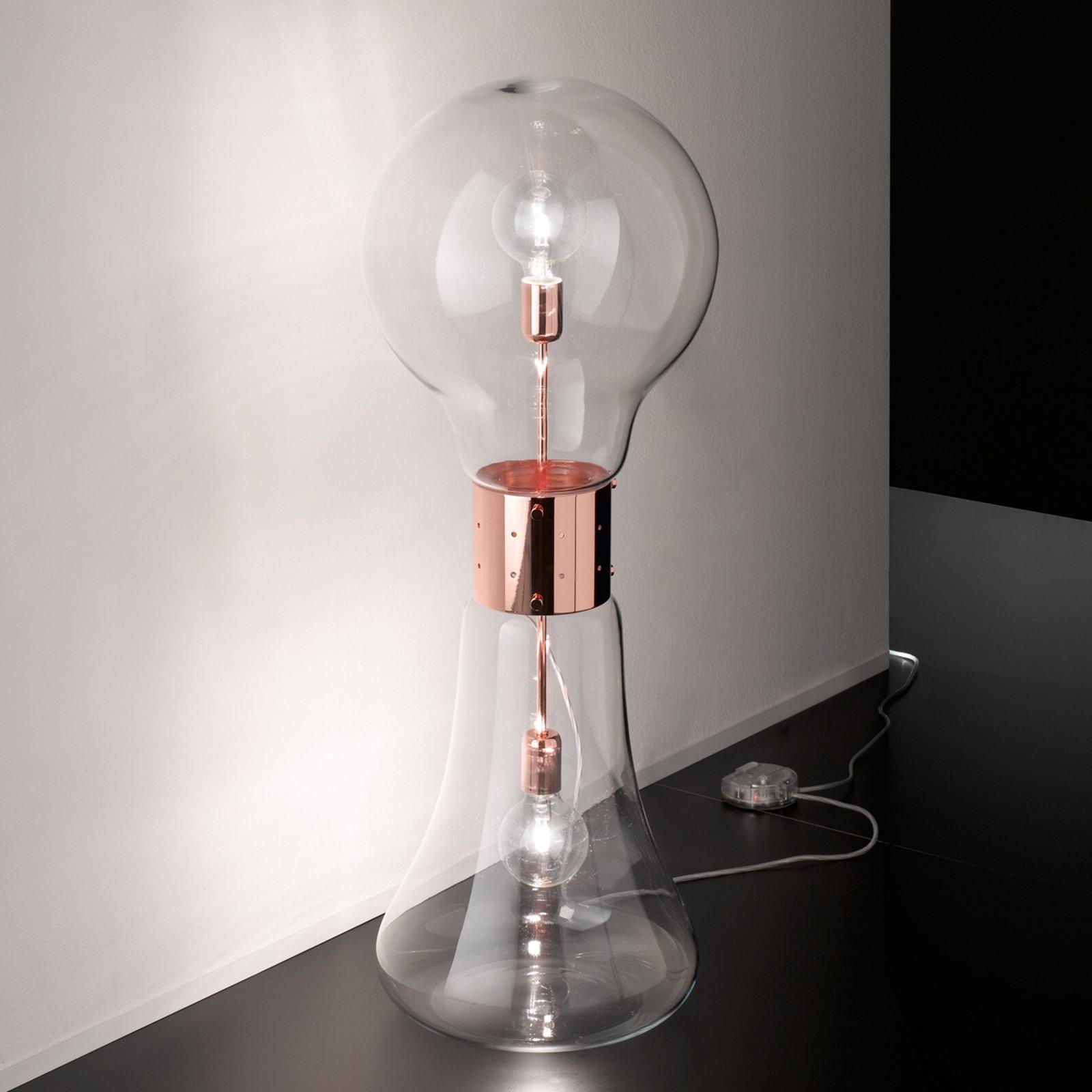 Dina designer-gulvlampe av glass m. kobberdetalj