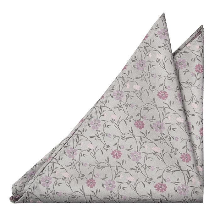 Silke Lommetørkler, Grålig base & blomster i blek lilla & blek rosa