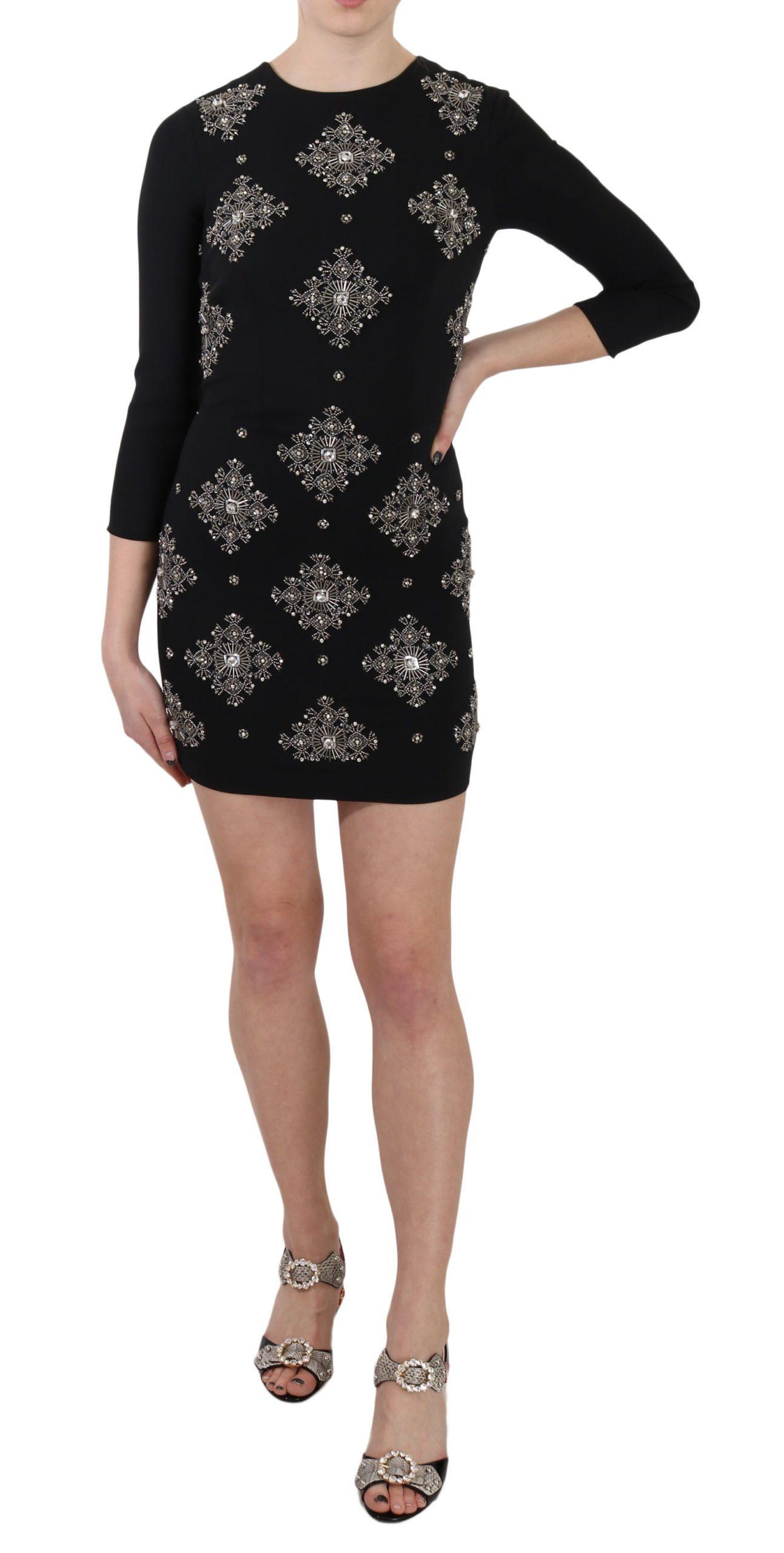 John Richmond Women's Crystal Stretch Mini Shift Dress Black DR1673 - IT38 XS