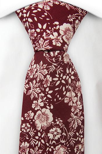 Bomull Slips, Burgunder bakgrunn med kritthvite blomster, Rød, Blomster