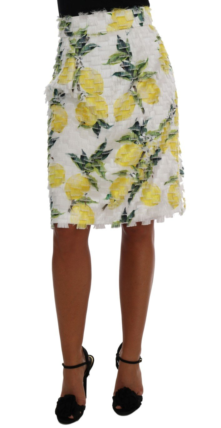 Dolce & Gabbana Women's Lemon Print Fringe Pencil Skirt Multicolor SKI1034 - IT38|XS