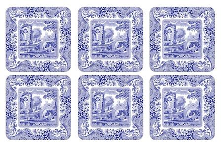 Blue Italian Glasunderlägg 6-pack
