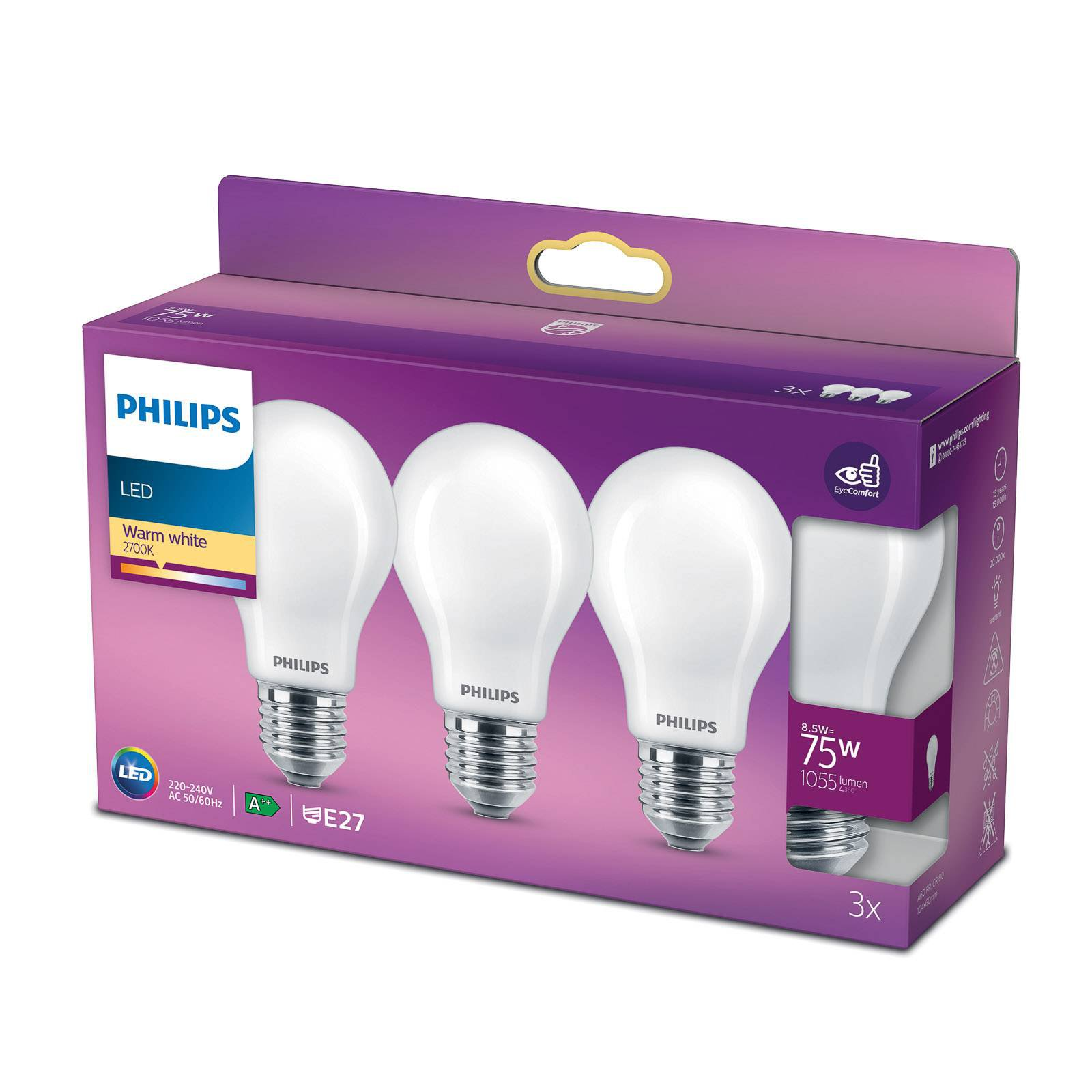 Philips Classic LED-pære E27 A60 8,5W 2 700 K 3-er