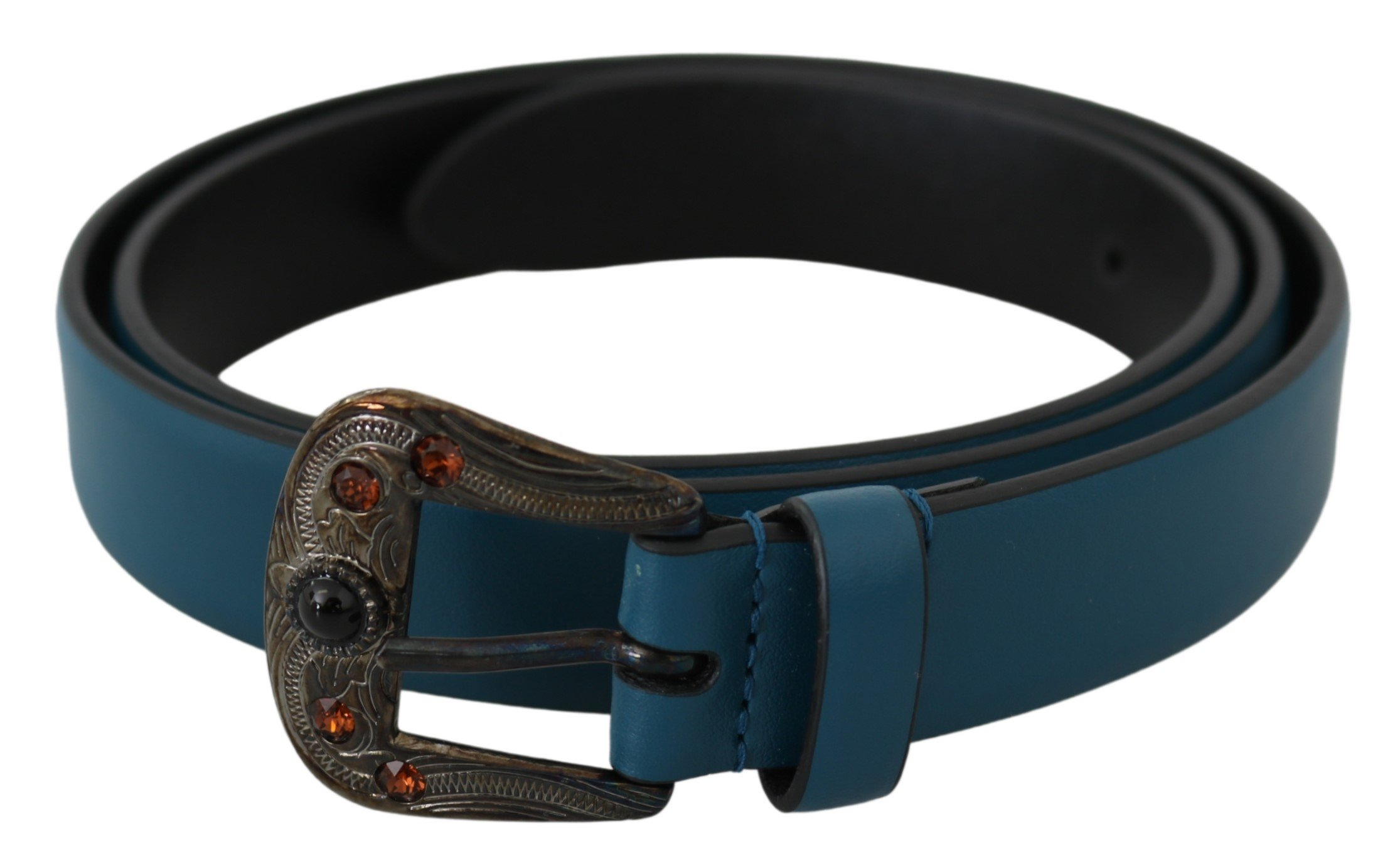 Blue Leather Amber Crystal Baroque Buckle Belt - 90 cm / 36 Inches