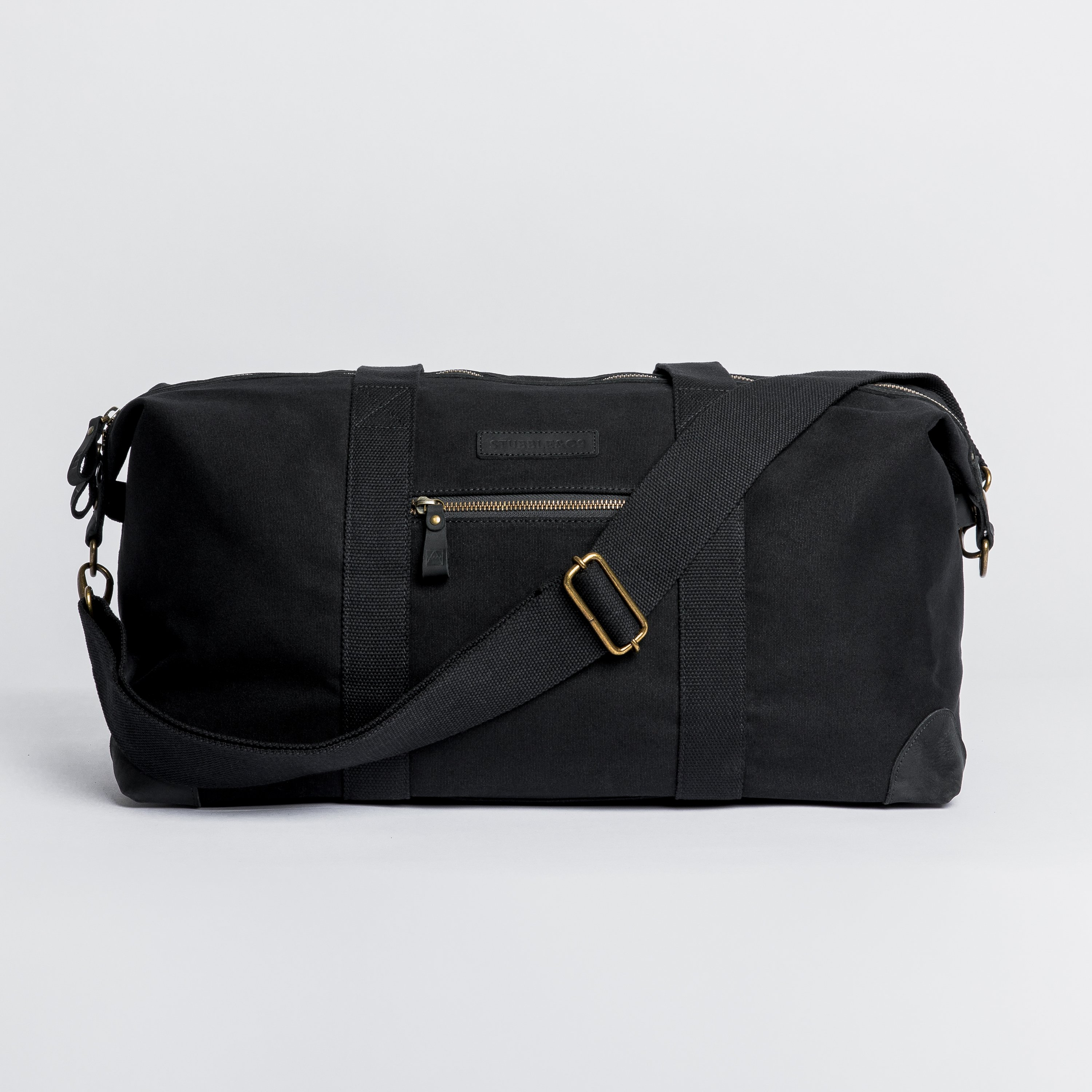 """The Everyday Bag. Waterproofed Canvas and Leather Holdall. 15"""" Laptop pocket., Black"""
